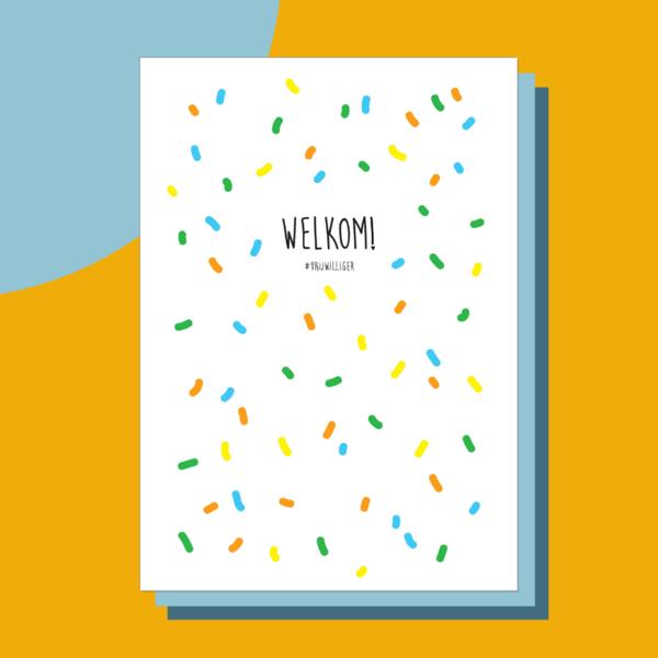 Vrijwilligers bedankt kaartVrijwilligers bedankt kaart - Confetti Welkom